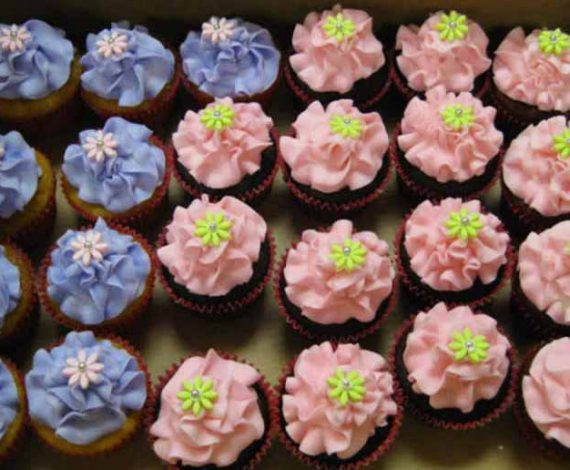Pink and Blue Flower Cupcakes