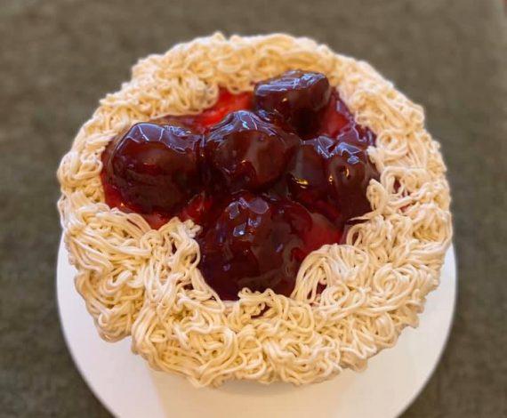 Spaghetti and Meat Balls Cake